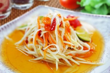 Thai style Papaya Salad  Stock Photo