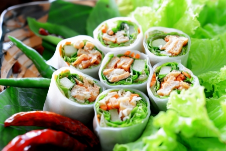 Delicious vietnamese spring roll with vegetable and chili Standard-Bild