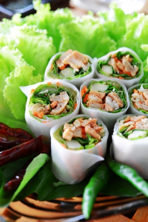 Delicious vietnamese spring roll with vegetable and chili Banco de Imagens