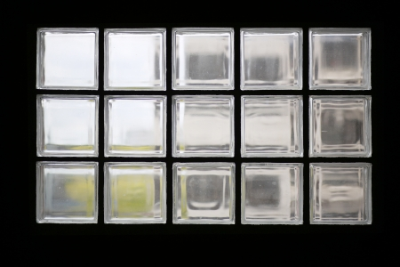 View of outdoor dawn through glass blocks