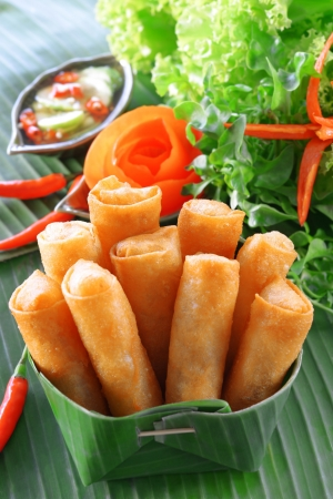 vietnamese food: Crispy Chinese Traditional Spring rolls food on set Stock Photo