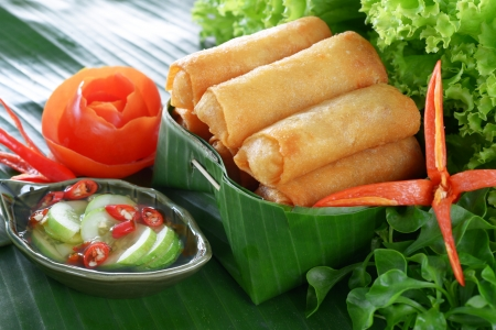 Crispy Chinese Traditional Spring rolls food on set Standard-Bild