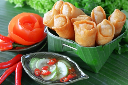 Crispy Chinese Traditional Spring rolls food on set Stock Photo