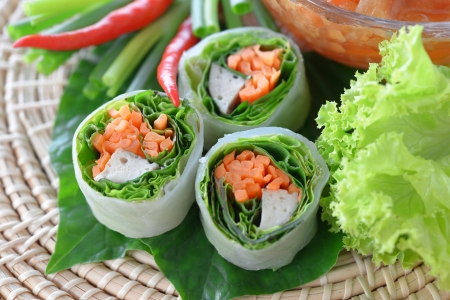 Fresh Chinese Traditional Spring rolls food with vegetable