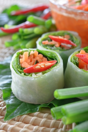 vietnamese food: Fresh Chinese Traditional Spring rolls food with vegetable