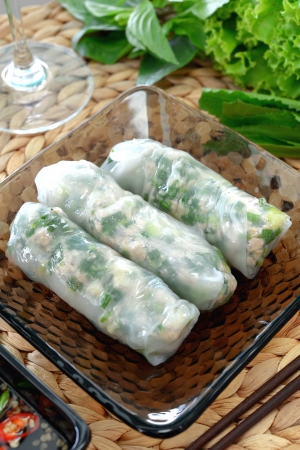 fresh spring roll on glass dish with dipping