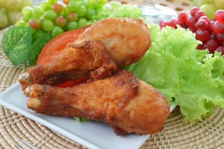 fried chicken with tomato on white dish
