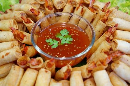 Crispy Chinese Traditional Shrimp Spring rolls food photo