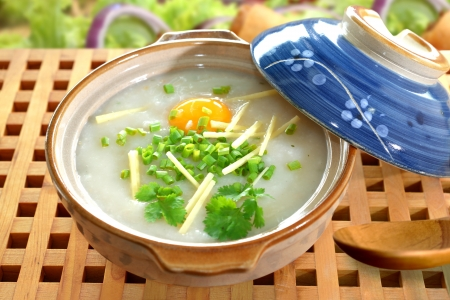 Traditional chinese porridge rice gruel in bowl, congee.