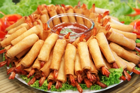 Crispy Chinese Traditional Shrimp Spring rolls food Stock Photo