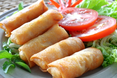 Crispy Chinese Traditional Spring rolls food on dish Banco de Imagens