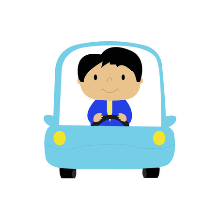 drivers: Simple cartoon of a businessman driving a car. Illustration