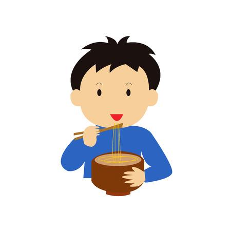 d�vorer: Boy Eating nouilles.