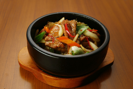 pan fried: Korean style pan fried meat and vegetable rice