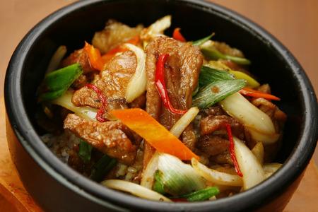 korean food: Korean style pan fried meat and vegetable rice