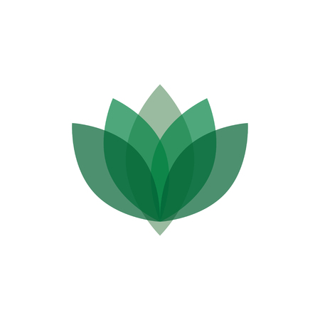 Abstract green and transparent lotus logo design