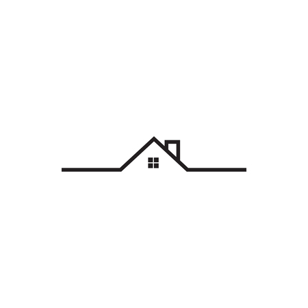Mono line real estate house logo icon design template