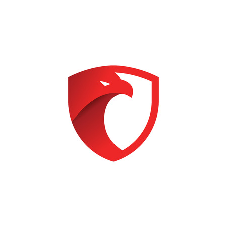 Security shield red eagle logo design template vector Illustration