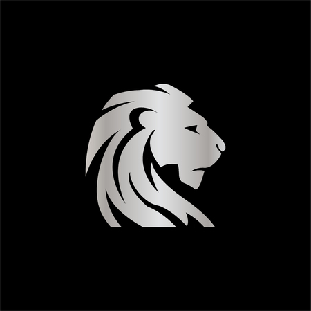 Elegant silver lion crest vector design concept template