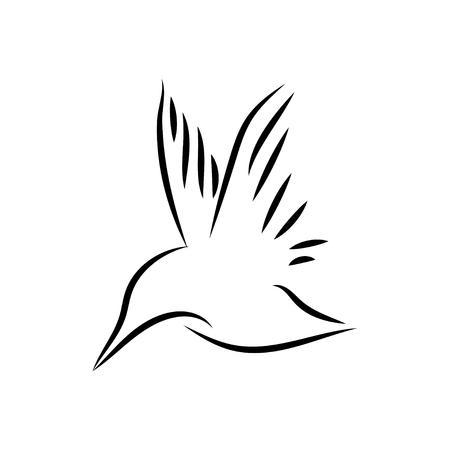 Common kingfisher bird mono line art vector Illustration