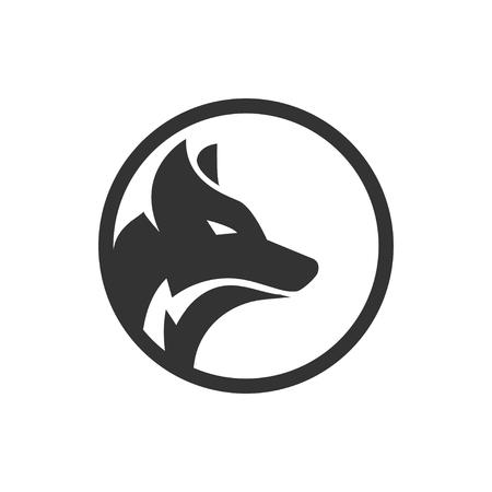 Illustration of circle wolf logo design concept vector Ilustração