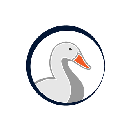 Illustration of circle duck logo template vector