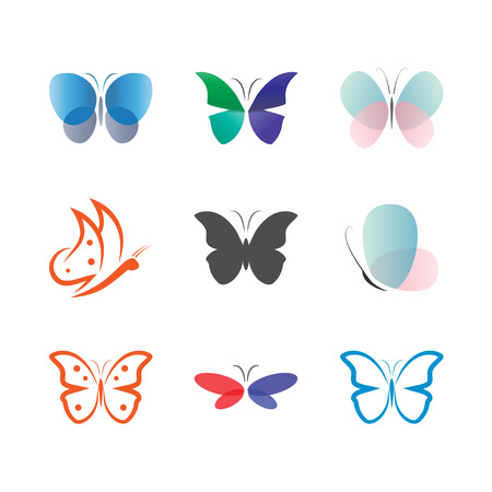 Illustration of butterfly logo and icon design template vector