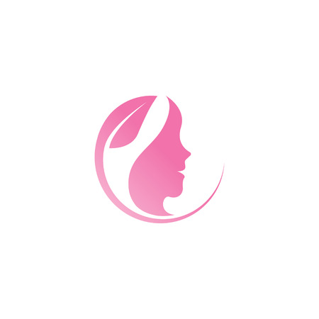 Spa aesthetic girl logo design template vector Illustration