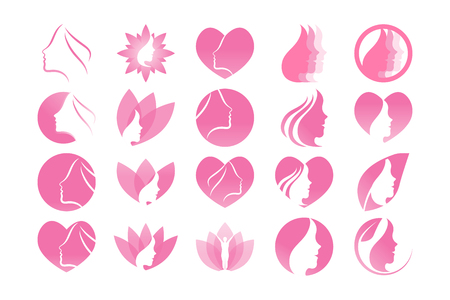 Spa aesthetic girl logo design template vector Çizim