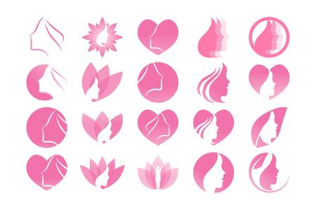 Spa estetica ragazza logo design template vettoriale