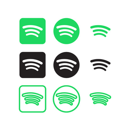 Collection of spotify social media icons vector