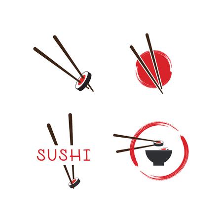 Illustration de la conception de modèle d'icône logo sushi