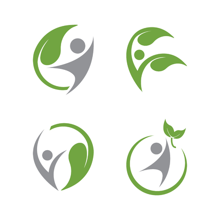Human and leaf wellness logo icon design template vector