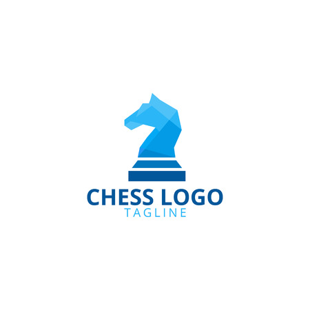 Illustration of knight chess logo design template vector