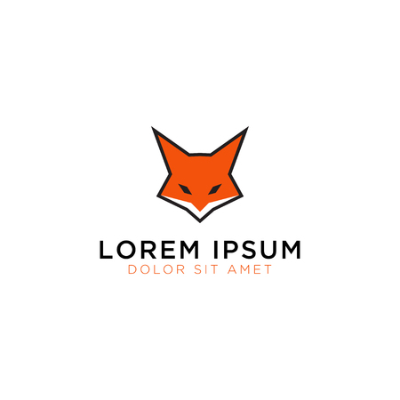 Illustration of fox head logo design template vector