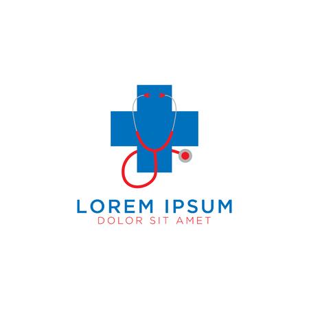 Illustration of medical cross and stethoscopoe logo design template Illustration
