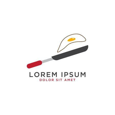 Illustration of fried egg logo design template vector Illustration