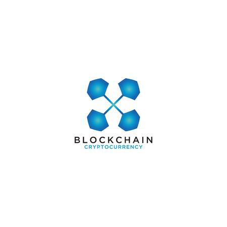 Illustration of blockchain logo design template vector