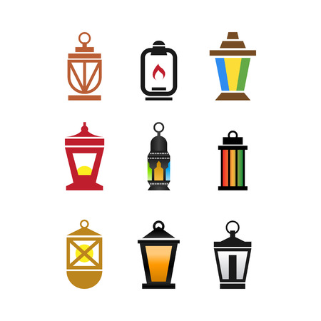 Collection of fanoos lantern graphic design vector Illustration