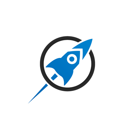 Illustration of rocket in a circle launching template vector