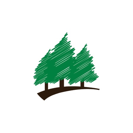 Elegant scribble green pine trees template vector