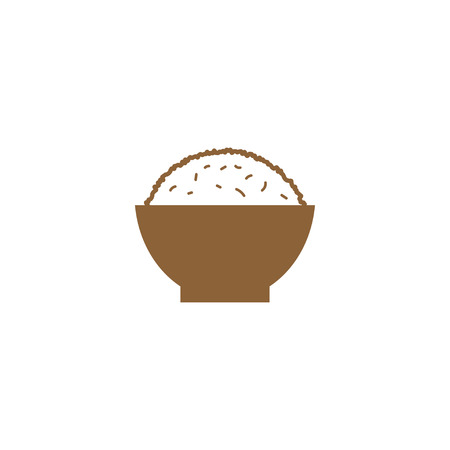 Simple rice on a bowl silhouette logo design template vector Illustration