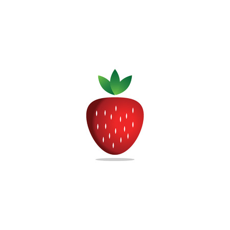 Red strawberry fruit logo icon template vector