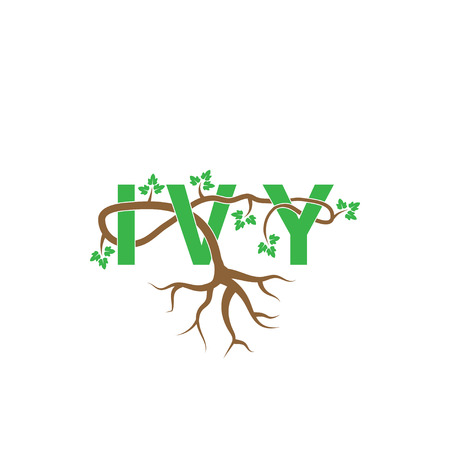 Ivy woven through ivy letter vector template