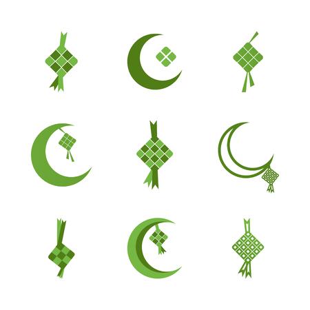 Ketupat eid al fitr ramadan illustration graphic design template
