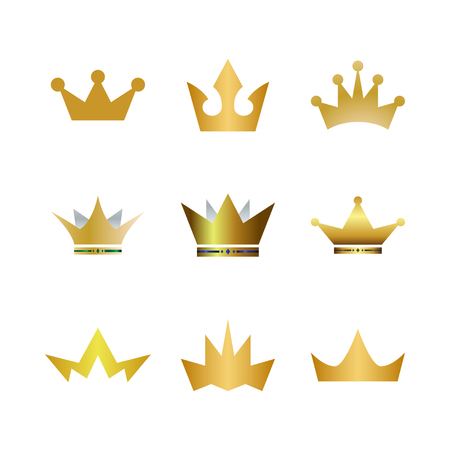 Collection of gold crown logo icon element