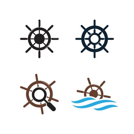 Illustration of ship wheel icon design template  イラスト・ベクター素材