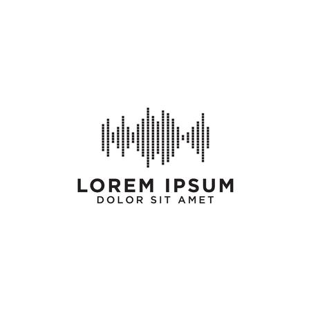 Illustration of audio wave icon design template