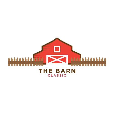Illustration of red barn logo design template Çizim