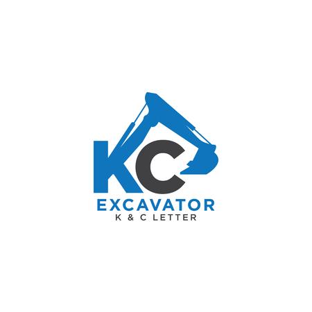 Letter K en C eerste graafmachine-sjabloon